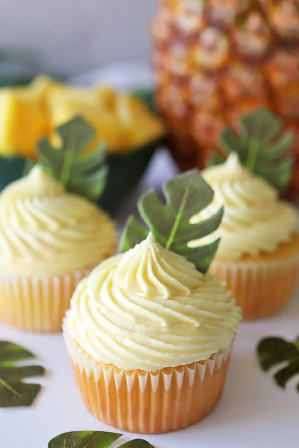 Dole Whip Cupcakes with Pineapple Filling